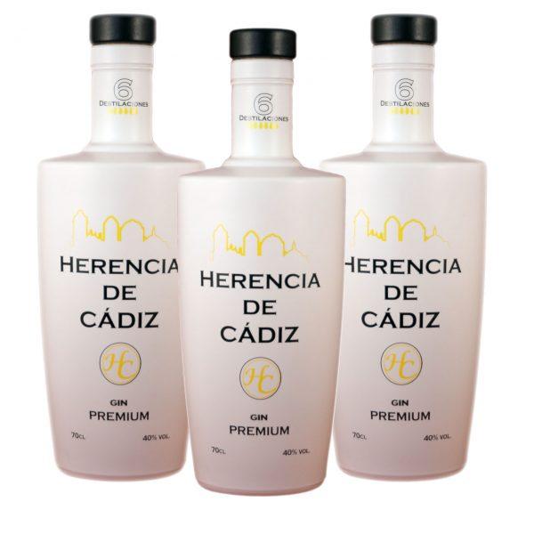 3 botellas Herencia de Cádiz Gin Premium