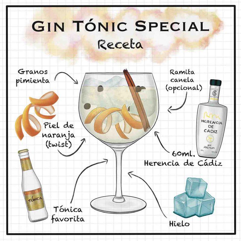 Ilustración Gin tonic con ingredientes