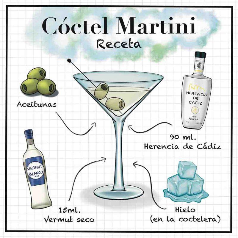 Ilustración martini coctel con ingredientes.